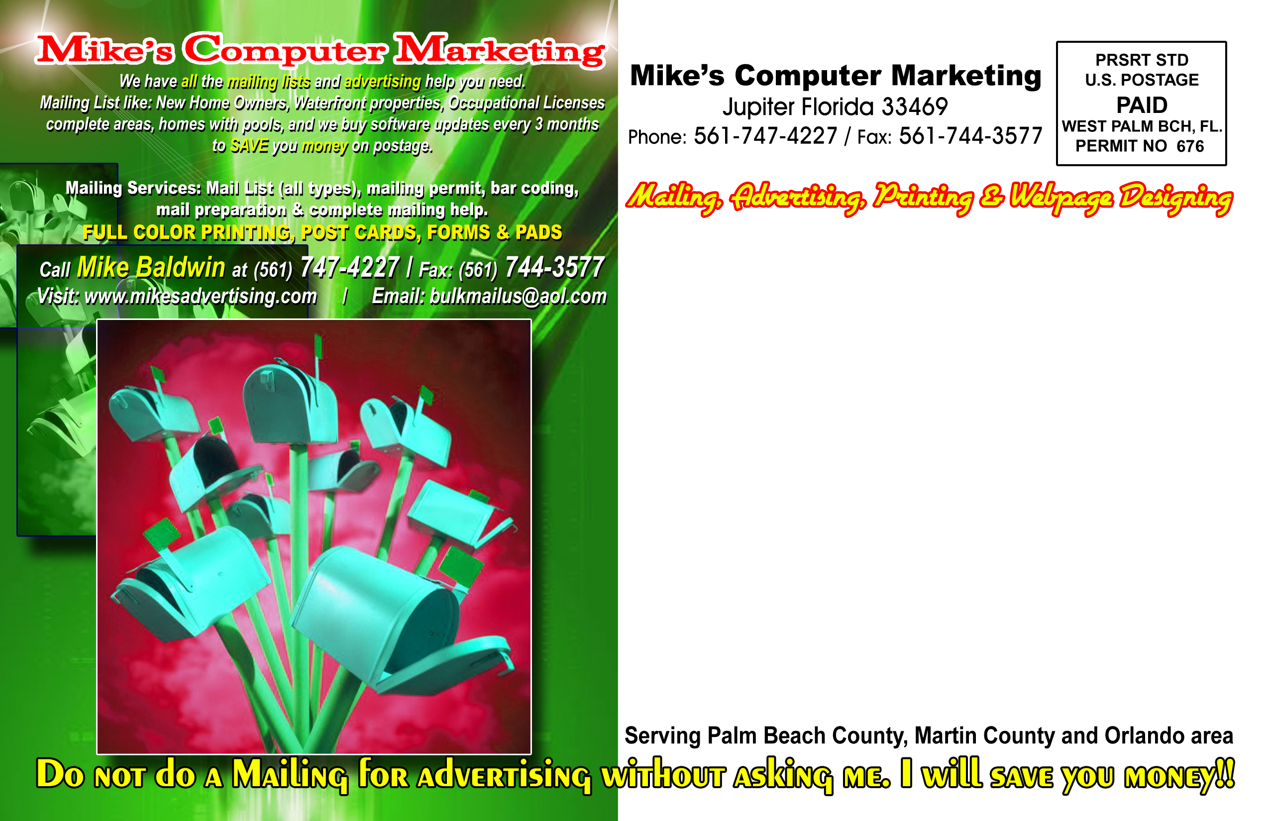 mikes computer marketing mailing examples